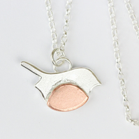 Sterling silver and copper handcrafted robin necklace
