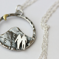 Sterling silver Wandering couple necklace
