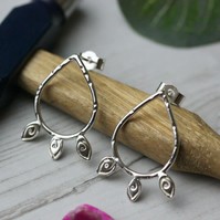 Sterling silver teardrop earrings with leaves