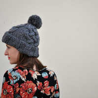 FLASH SALE Hand Knitted Fisherman's Hat in Grey Marl