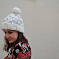 Hand Knitted Fisherman's Hat in Cream