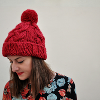 FLASH SALE Hand Knitted Fisherman's Hat in Folksy Red