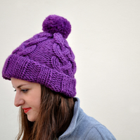 FLASH SALE Hand Knitted Fisherman's Hat in purple