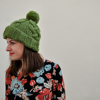 Hand Knitted Bobble Hat in Meadow Green - made with British Wool