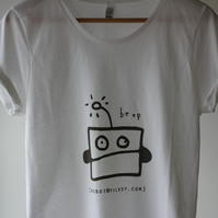 Folksy Robot Beep Women's T-shirt in Grey - screen printed by the Folksy team