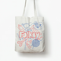 Official Folksy screen printed tote bag by The Catkin Boutique