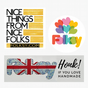 Set of three Folksy bumper stickers by Tom Boulton and Fiona T