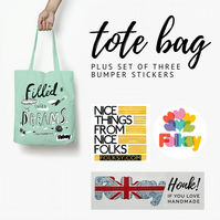 Tote Bag and Bumper Sticker Set 2 - with tote by Catherine McGinniss