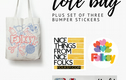 Folksy Tote Bags and Bumper Stickers