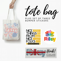 Tote Bag and Bumper Sticker Set 1 - with tote by The Catkin Boutique