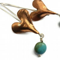 Copper heart earrings with turquoise stones and sterling silver ear wires