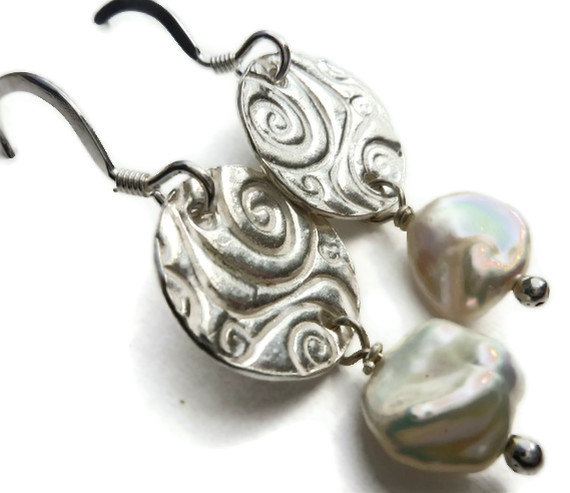 Sterling silver Art Nouveau wedding earrings