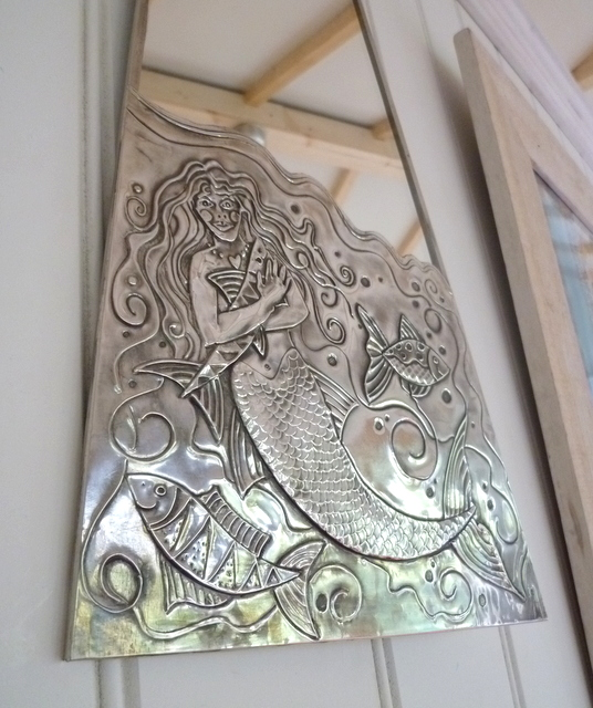 Mermaid bathroom mirror.