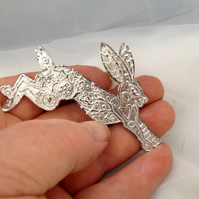 Magical pewter Hare brooch