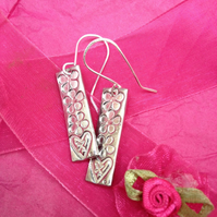 Hearts and flowers drop earrings