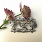 Bird and flowers brooch pin vintage style brooch made from pewter.