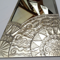 Art Deco style sun mirror in pewter. Custom order for Jill.