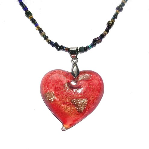 Necklace ~ Fire Glass heart