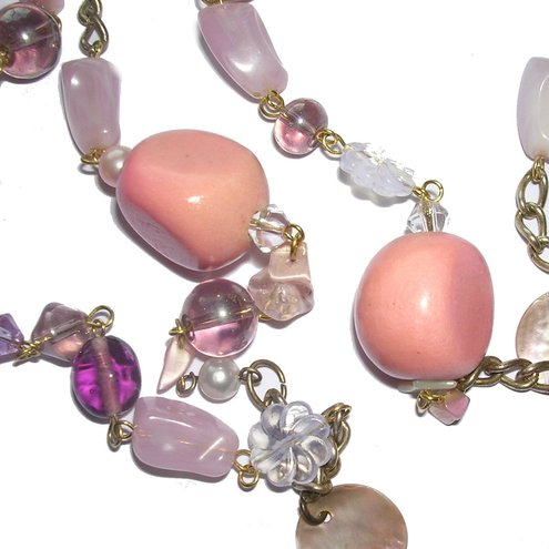 Necklace  & Earrings ~ Shell Pink