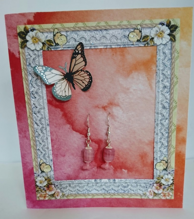 Pink Framed Butterfly All In One Gift Card
