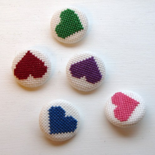 Embroidered Self Covered Heart Buttons