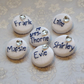 6 Diamante Personalised Bridal Bouquet and Favours Buttons