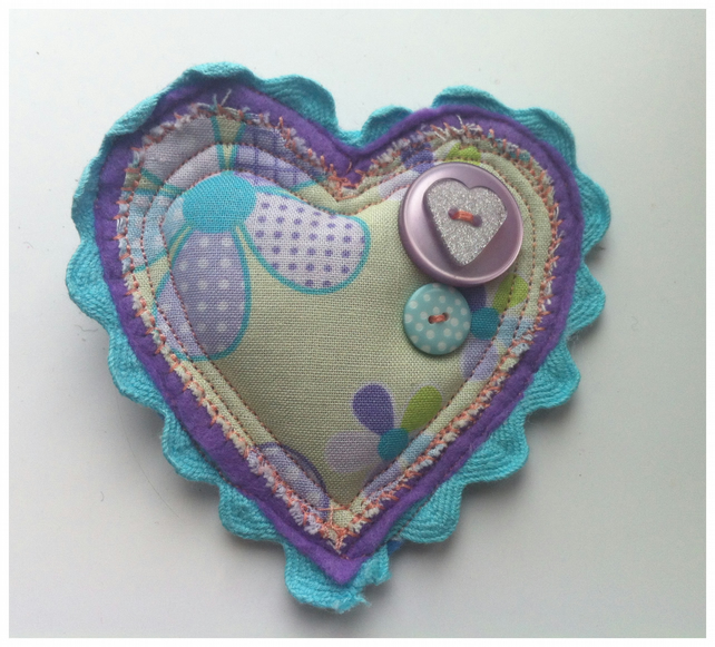 Heart and button Brooch. SALE