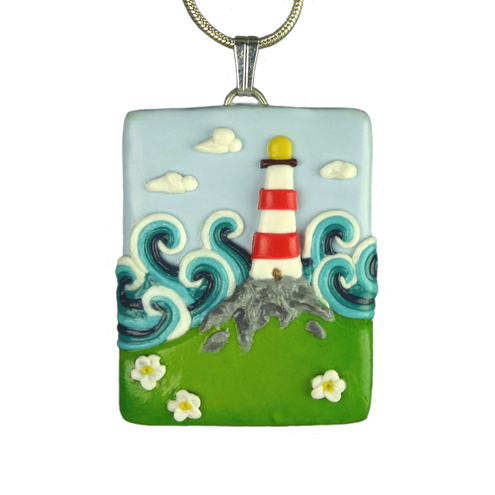 Stormy sea Lighthouse necklace