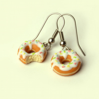 White with sprinkles Doughnut earrings