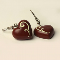 Decorated Chocolate heart earrings