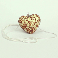 White Faux Chocolate Filigree Heart Necklace