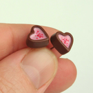 Faux Fondant filled Chocolate Heart Cup stud earrings