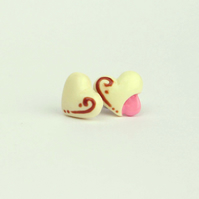 Cute Soft Centred Chocolate Heart stud earrings, White