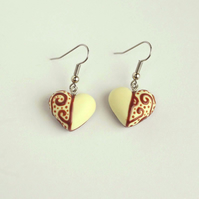 Faux Chocolate Heart earrings with Filigree decoration, Light