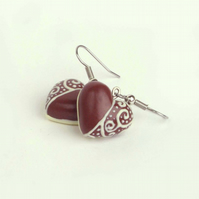 Faux Chocolate Heart earrings with Filigree decoration, Dark