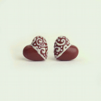 Sweet faux chocolate filigree heart stud earrings, Dark