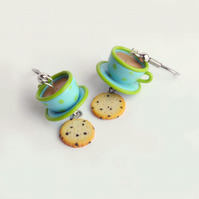 Tea and Biscuit earrings - Blue and green