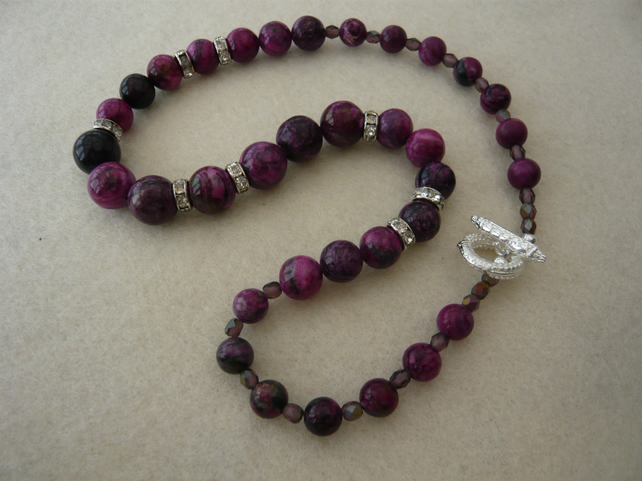 Purple Jasper and Crystal Rondelle Necklace