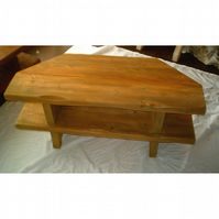 Rustic corner tv unit, made from 2 inch thick pine