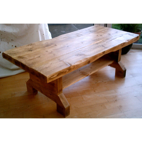 Farmhouse, rustic coffee table with shelf