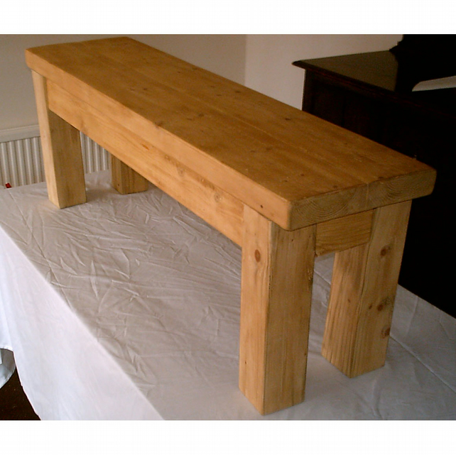 Hand Made Rustic Solid Wood Kitchen Bench - stained in light oak