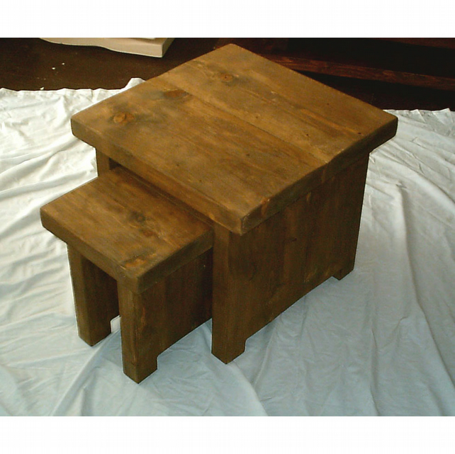 Rustic hand made nest of tables