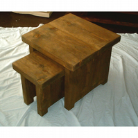 Hand Made Rustic Nest of Tables - stained in jacobean oak