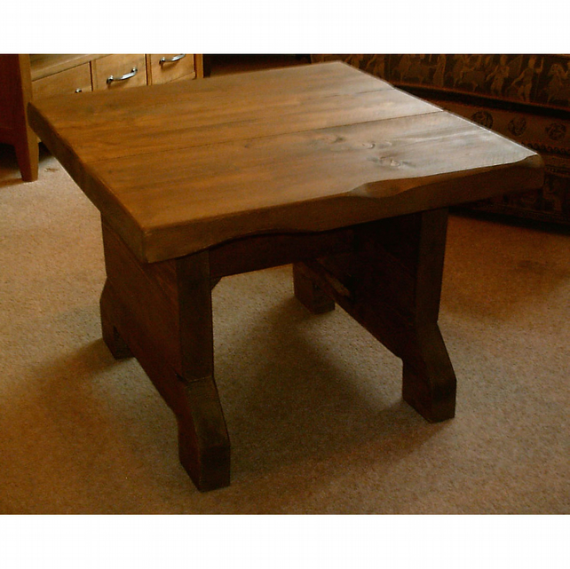 Hand Made Square Rustic Coffee Table - Stained in Jacobean Oak