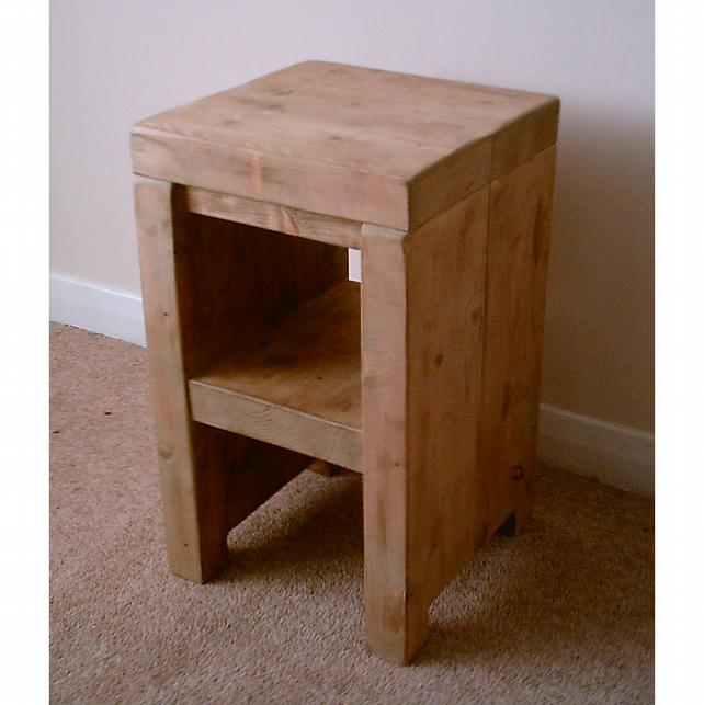 Chunky rustic side table with shelf