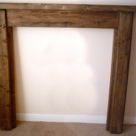 Rustic Hand made fire surround, stained in jacobean oak