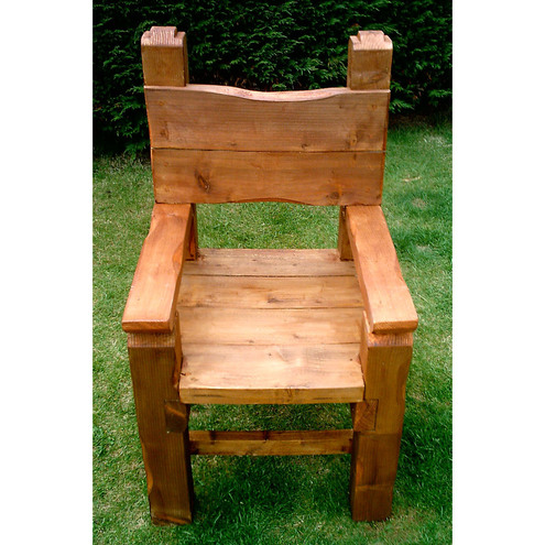 Large Hand Made Chunky Wooden Garden Chair