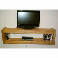 Wall Mounted Rustic Widescreen TV Unit - Solid Wood Stained in Med Oak