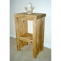Large Rustic Side Table With Shelf - Solid Chunky Wood
