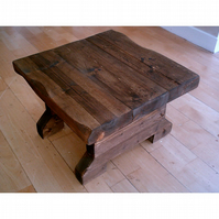 New Hand Made Chunky Rustic Side Table - Stained in Jacobean Oak